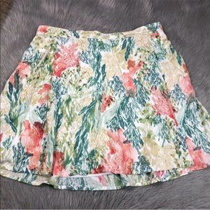 Old navy women's rayon green coral leaf skirt L